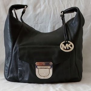 Michael Kors Black Leather Hobo Handbag